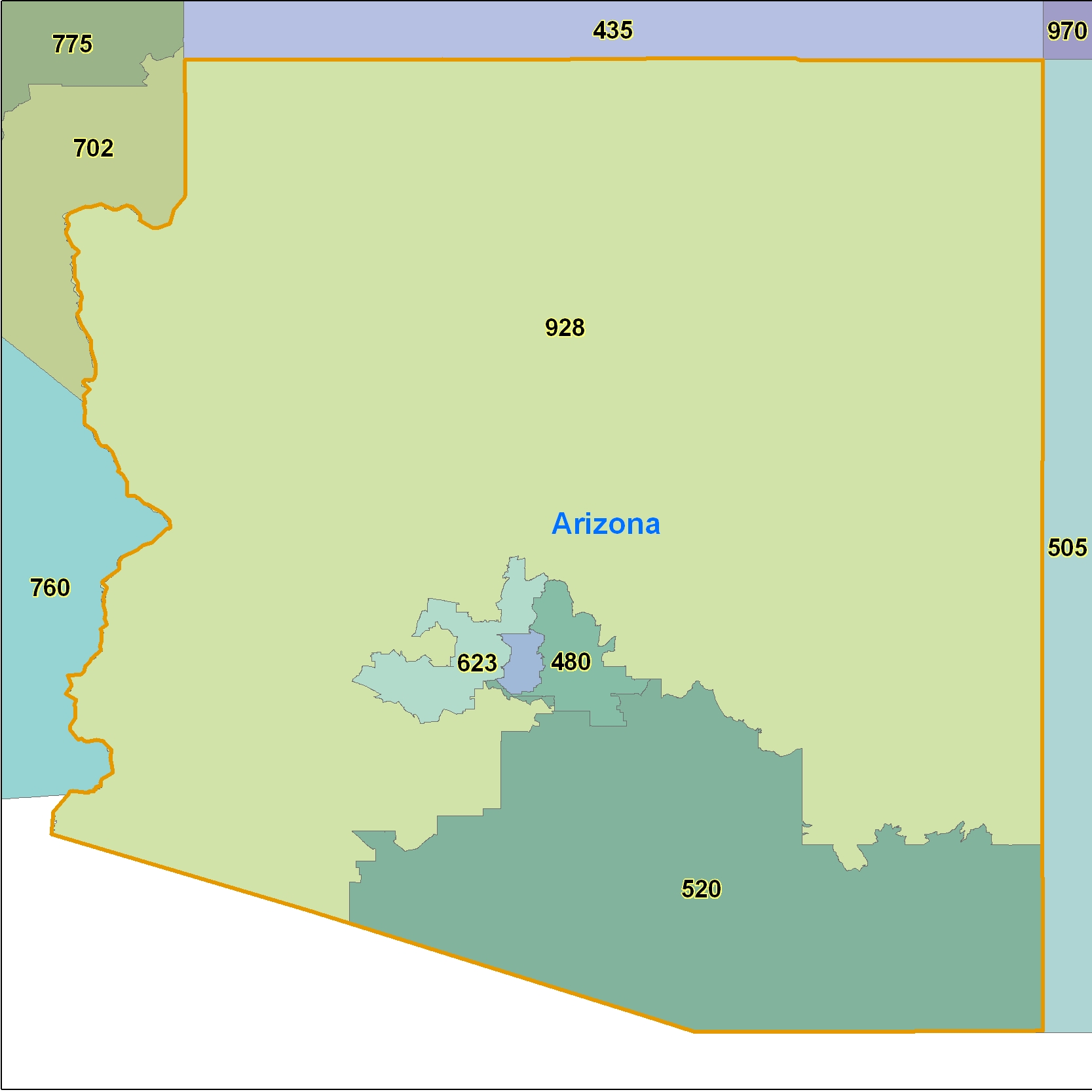 Arizona (AZ) Area Code Map