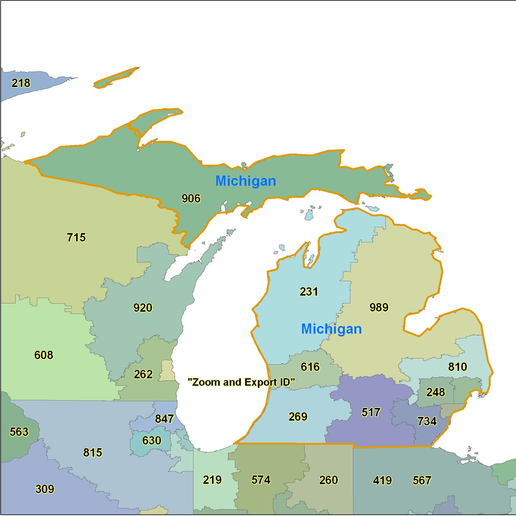 Michigan (MI) Area Code Map