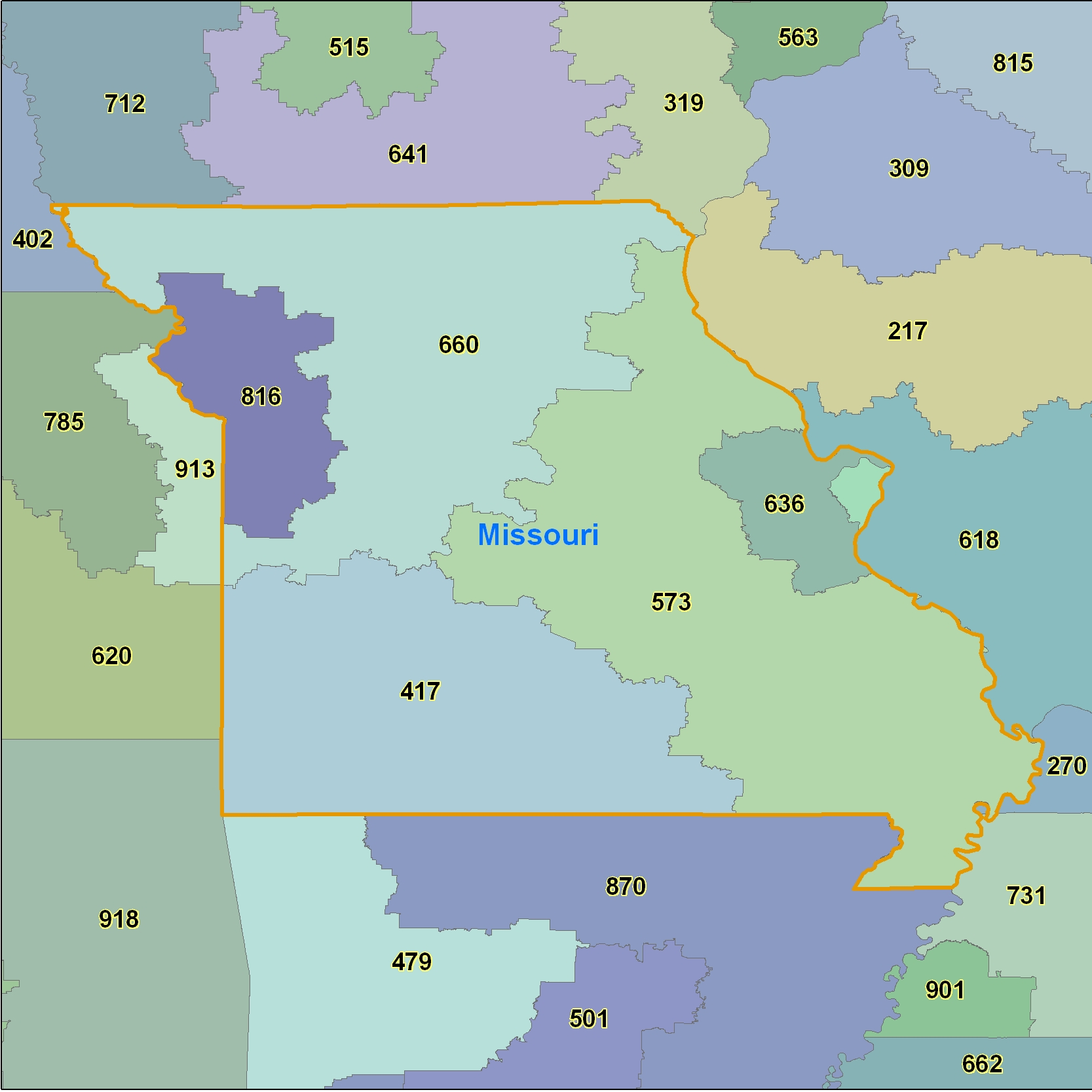 Missouri (MO) Area Code Map