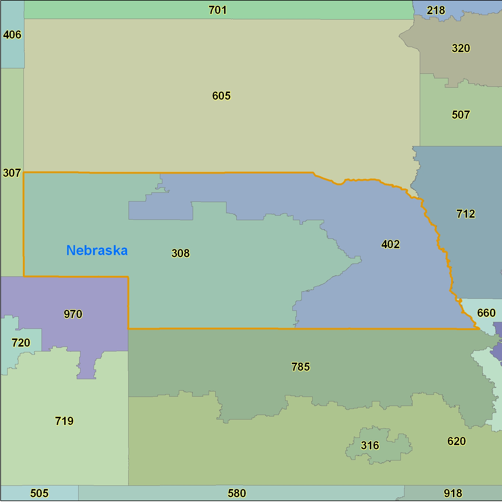 Nebraska (NE) Area Code Map