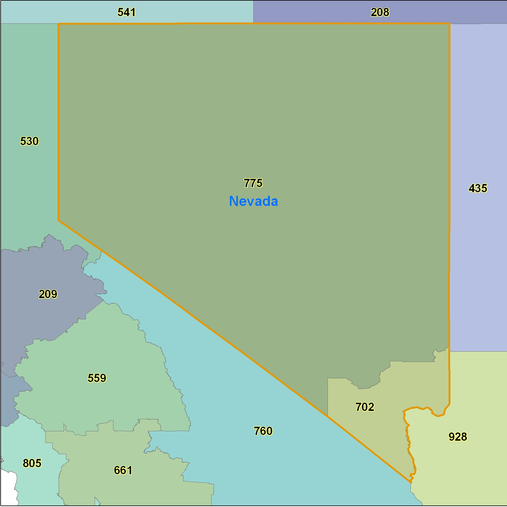 Nevada (NV) Area Code Map