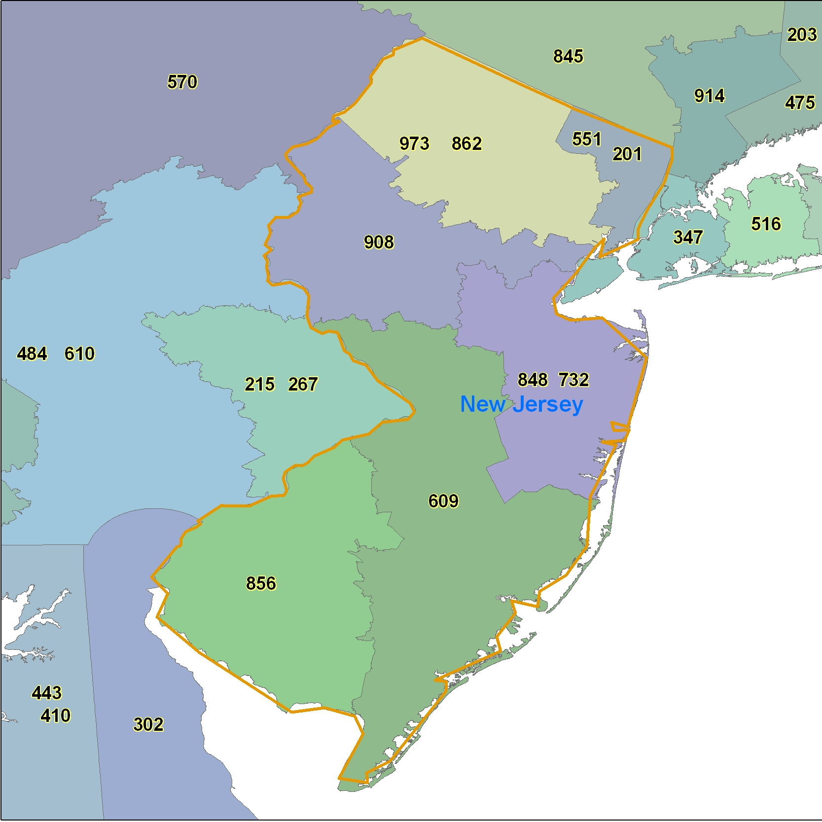 New Jersey (NJ) Area Code Map