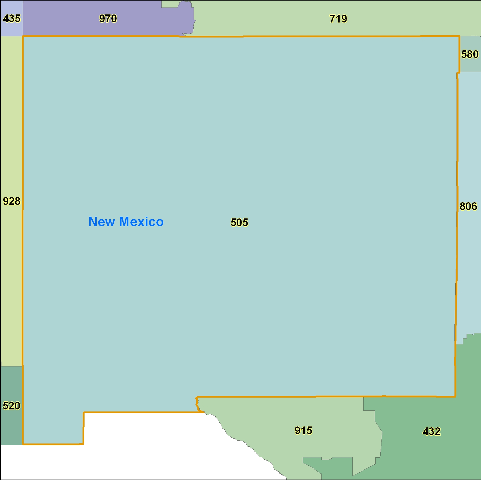 New Mexico (NM) Area Code Map