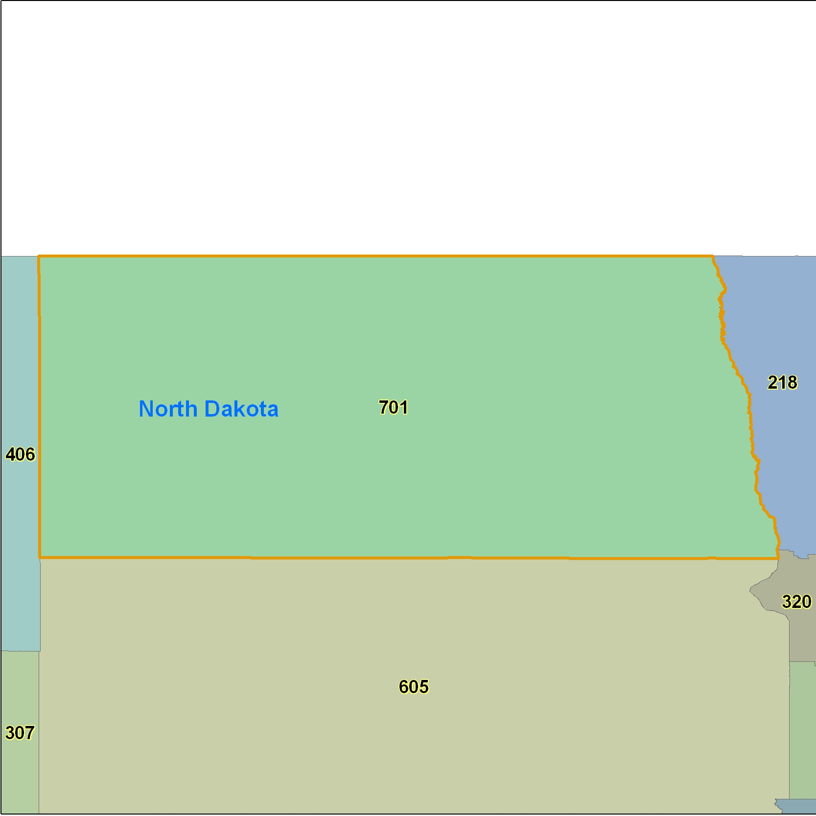 North Dakota (ND) Area Code Map