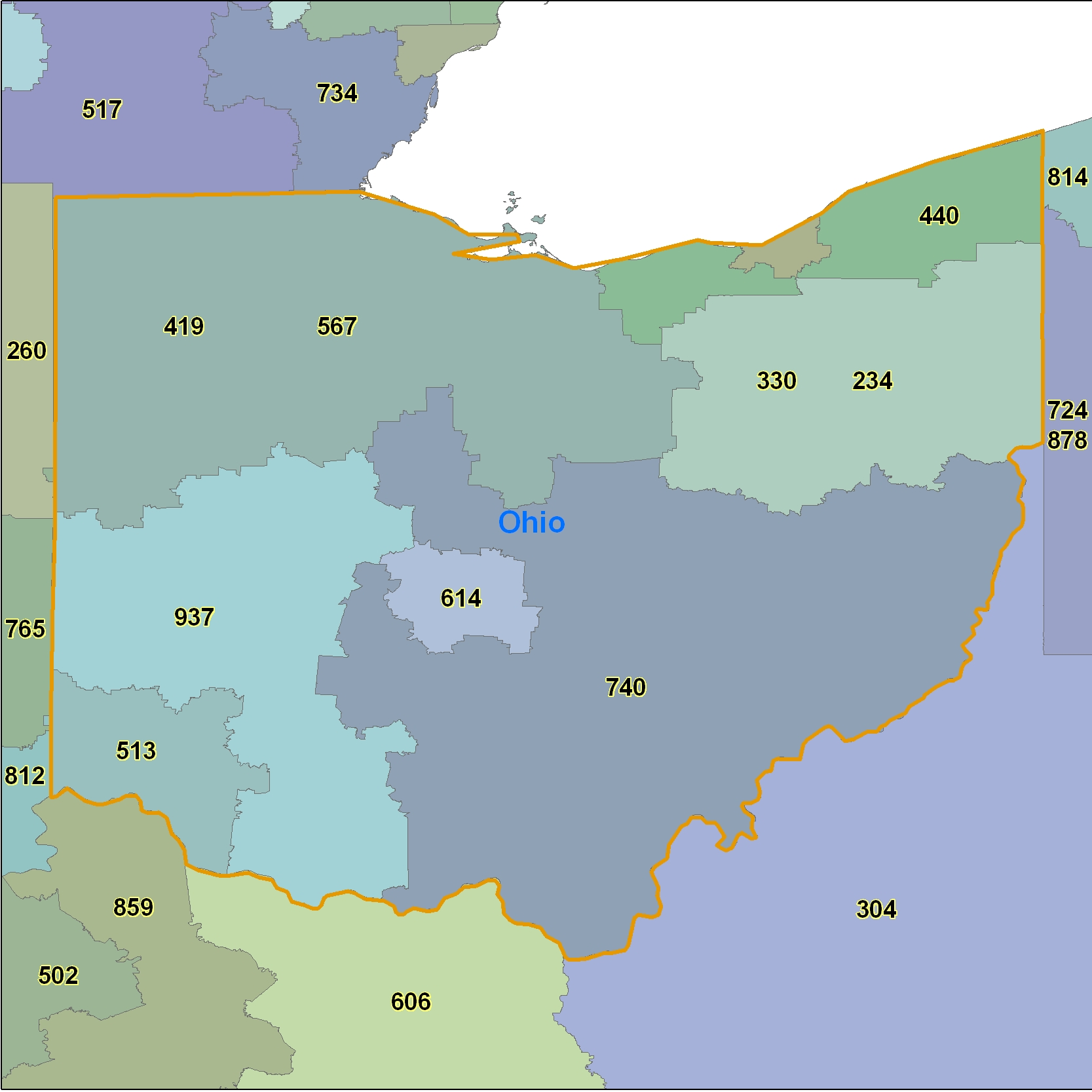 Ohio Area Code Maps Ohio Telephone Area Code Maps Free