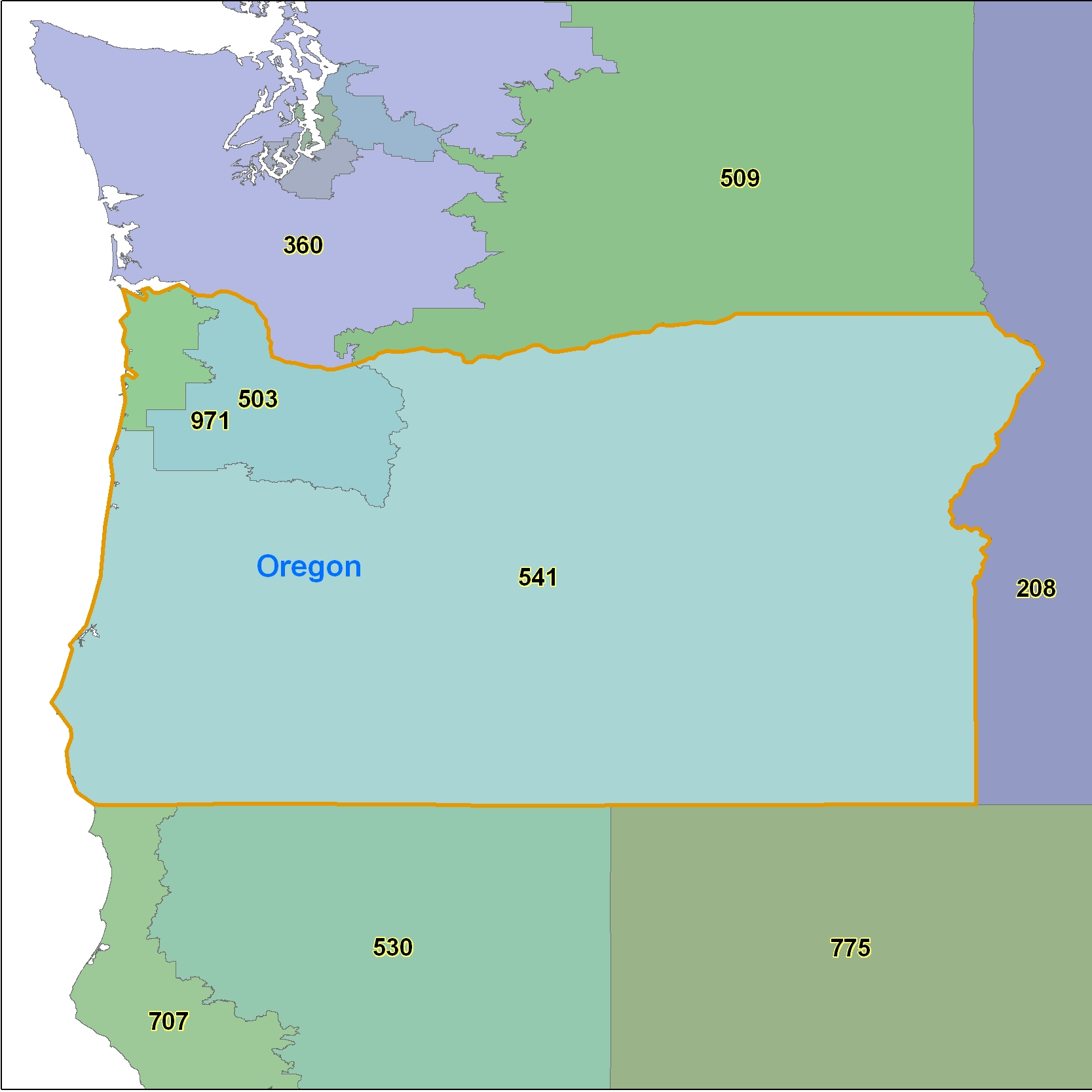 Oregon (OR) Area Code Map