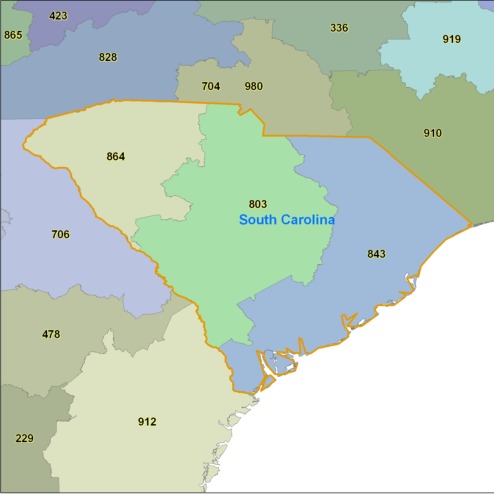 South Carolina (SC) Area Code Map