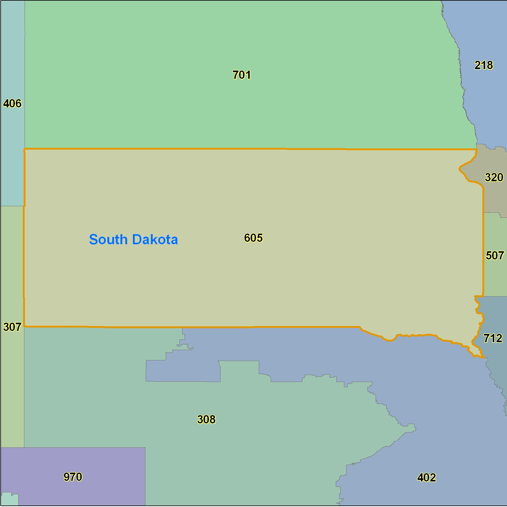 South Dakota (SD) Area Code Map