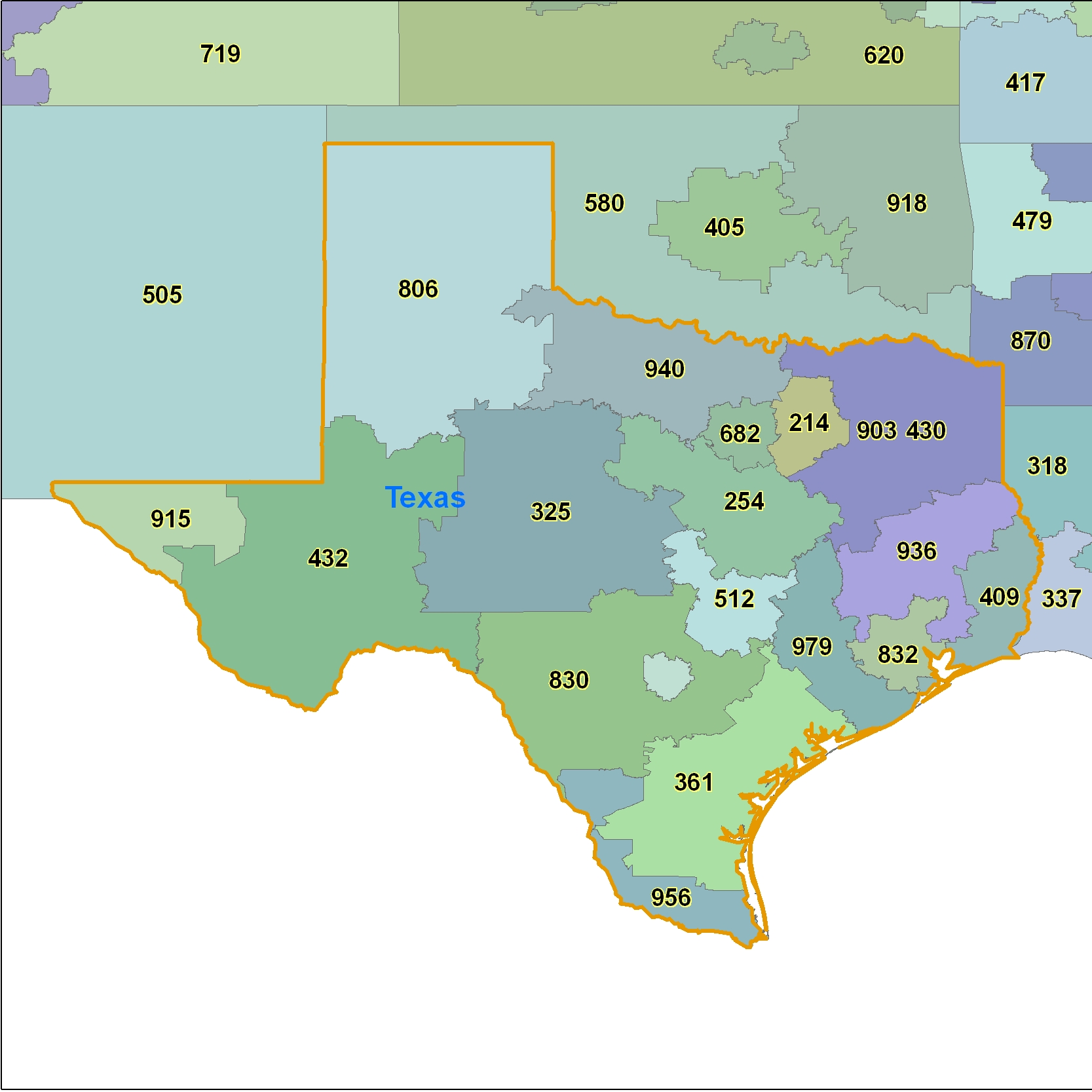 Texas (TX) Area Code Map