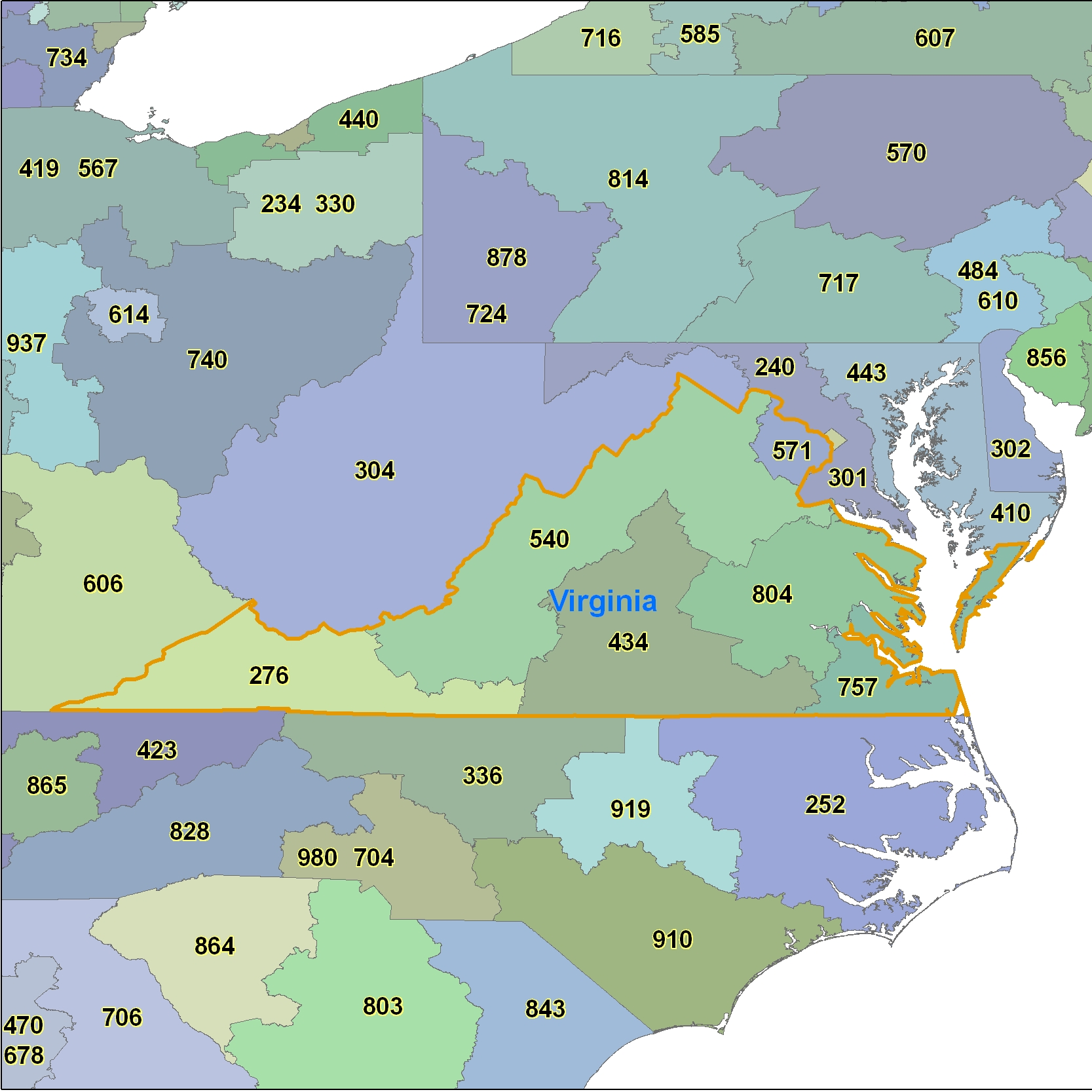Virginia (VA) Area Code Map
