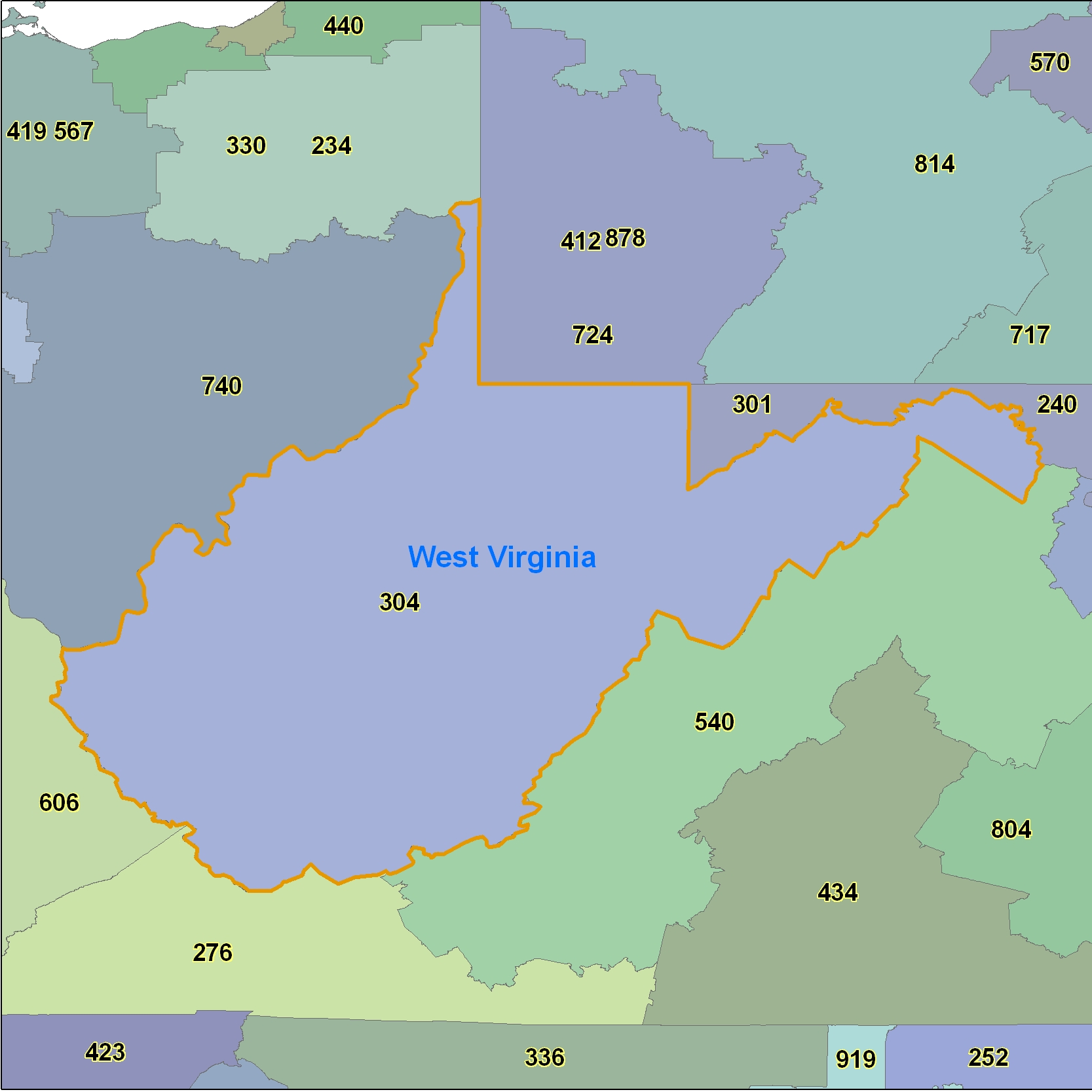 West Virginia (WV) Area Code Map