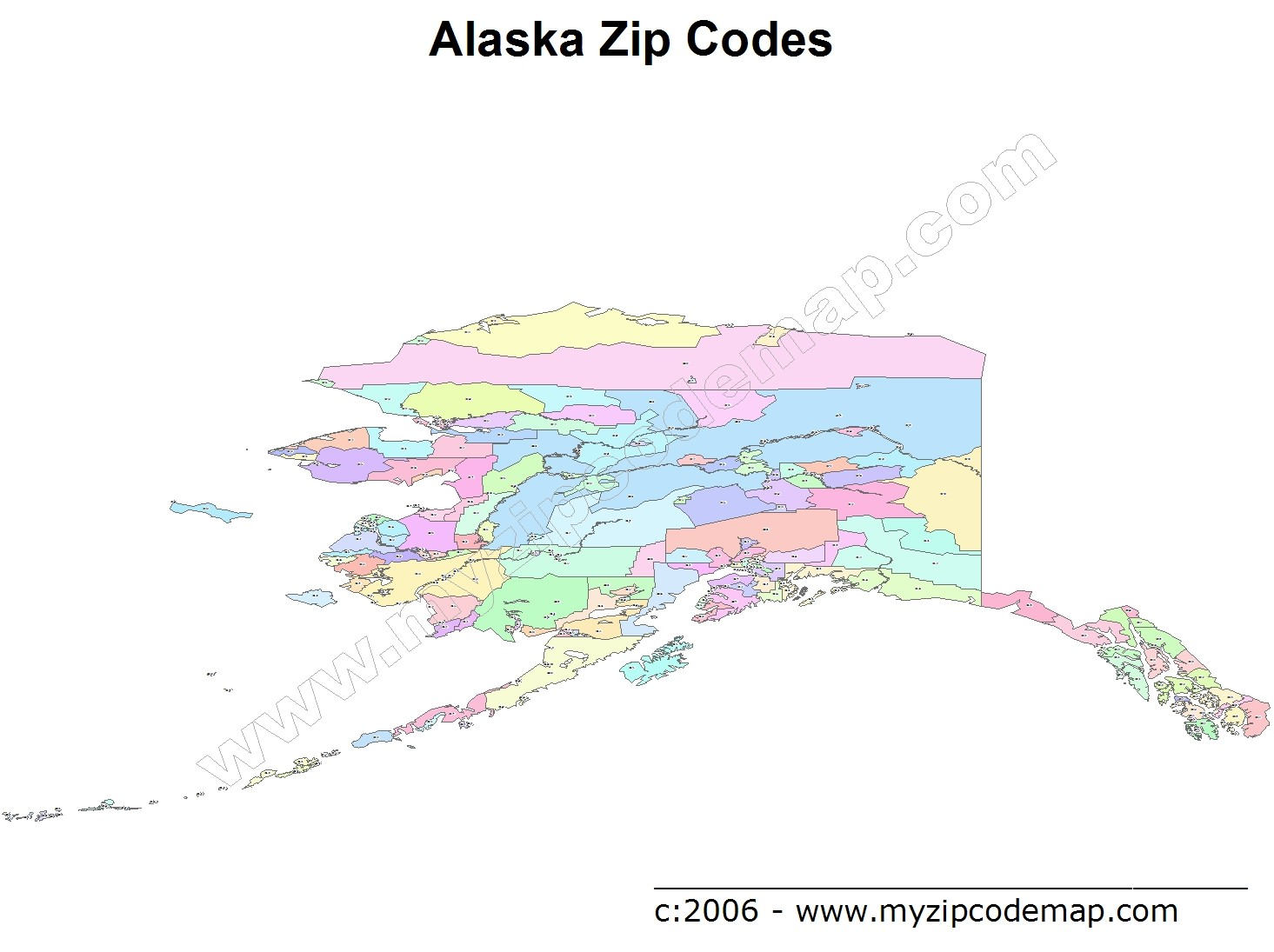 Alaska (AK) Zip Code Map