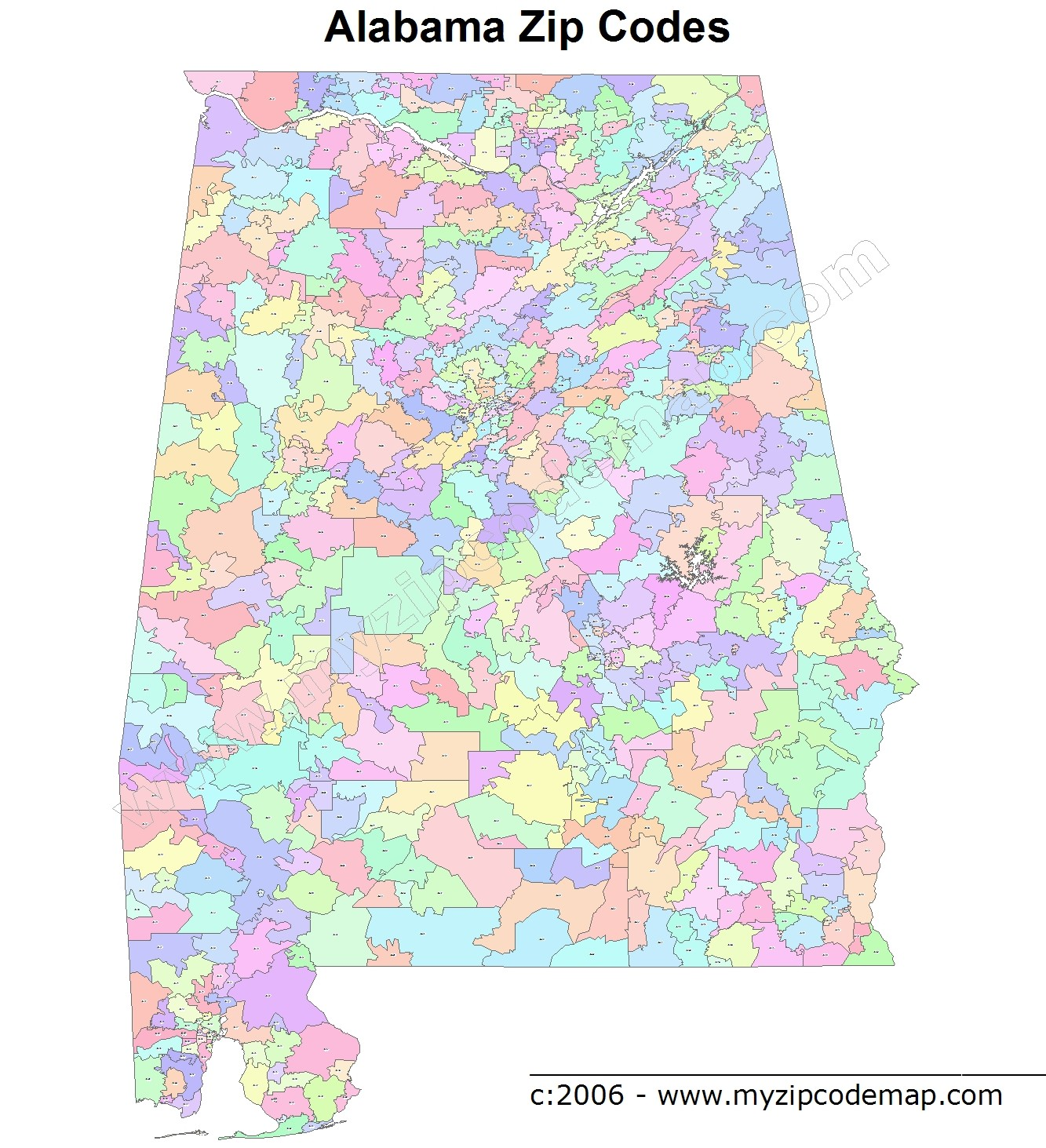 Alabama (AL) Zip Code Map