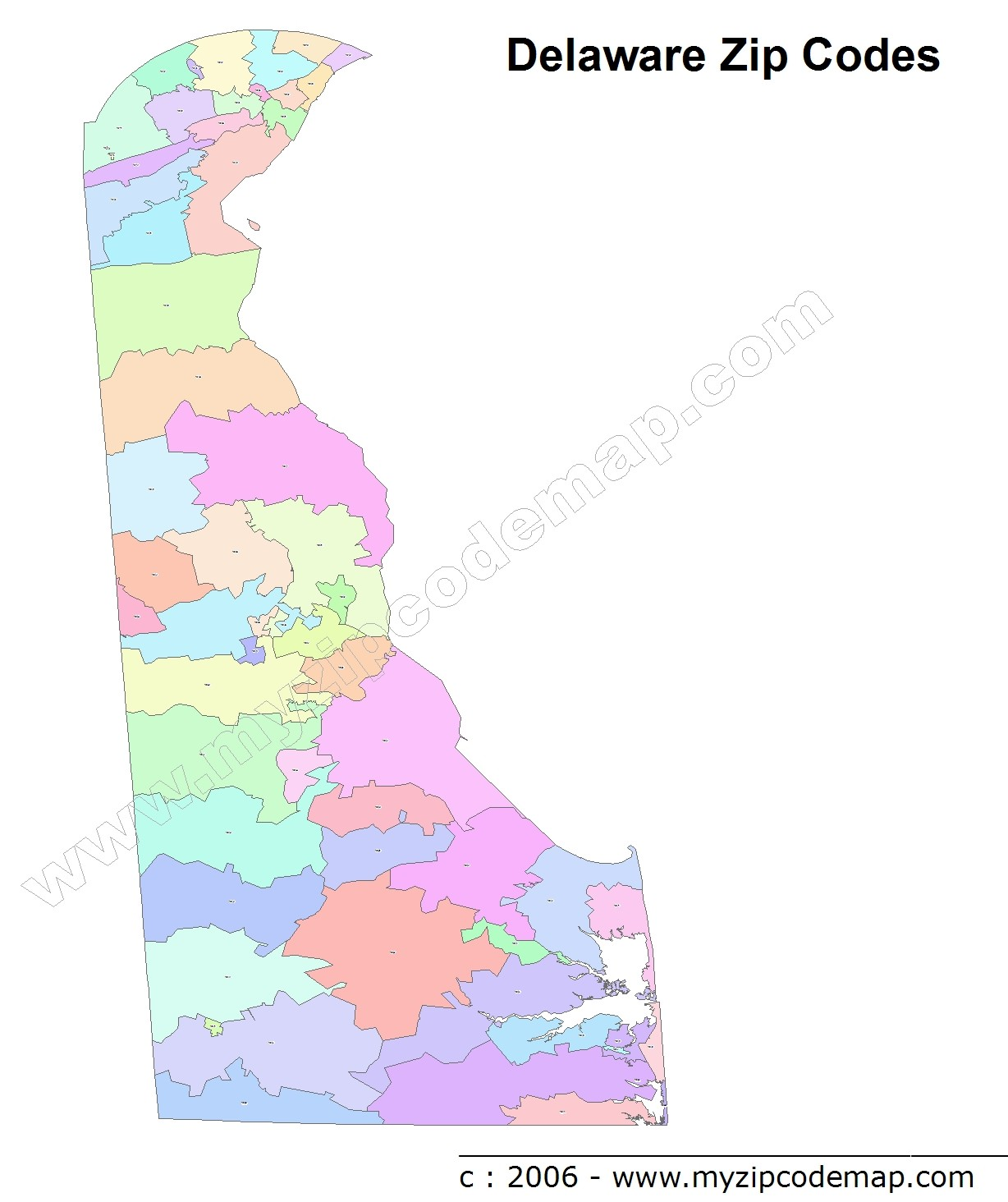 Delaware Zip Codes Map List Counties And Cities Reference Map Of - Delaware cities map