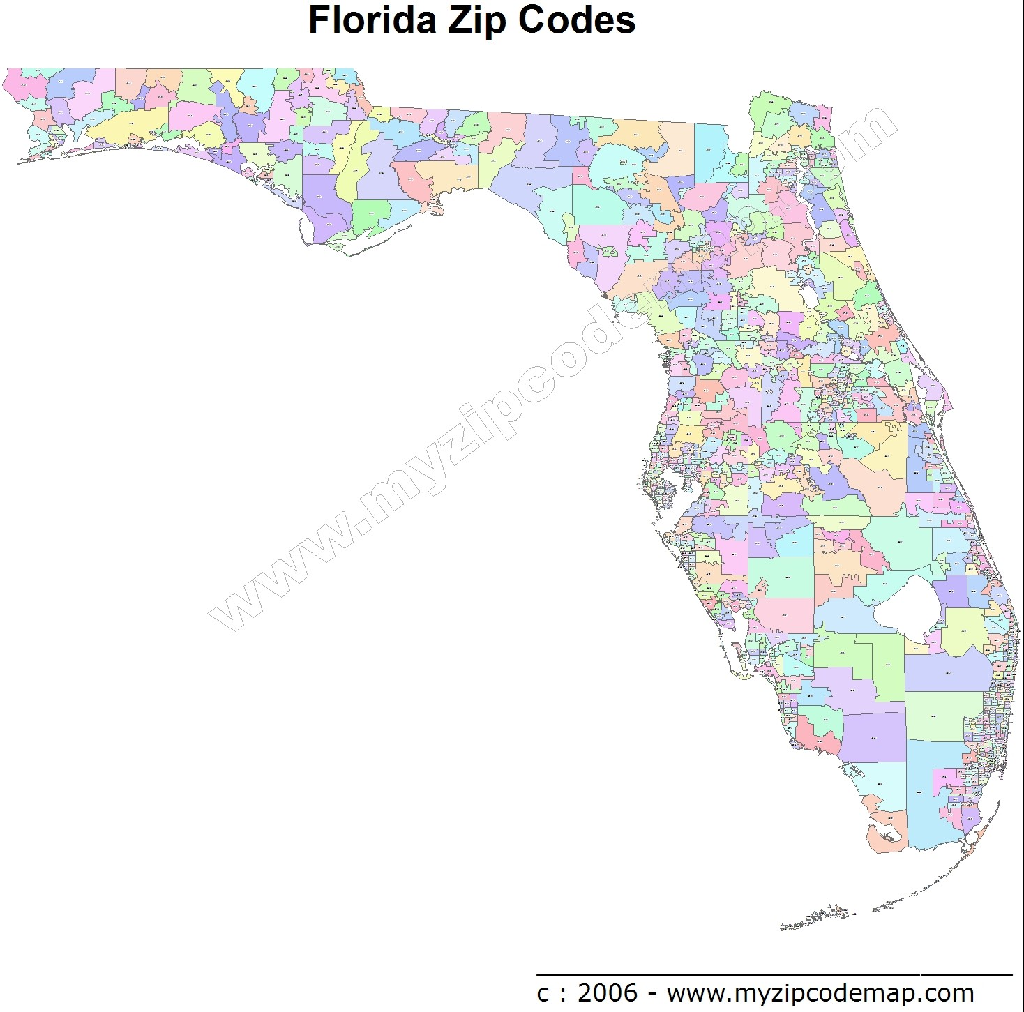 Florida (FL) Zip Code Map