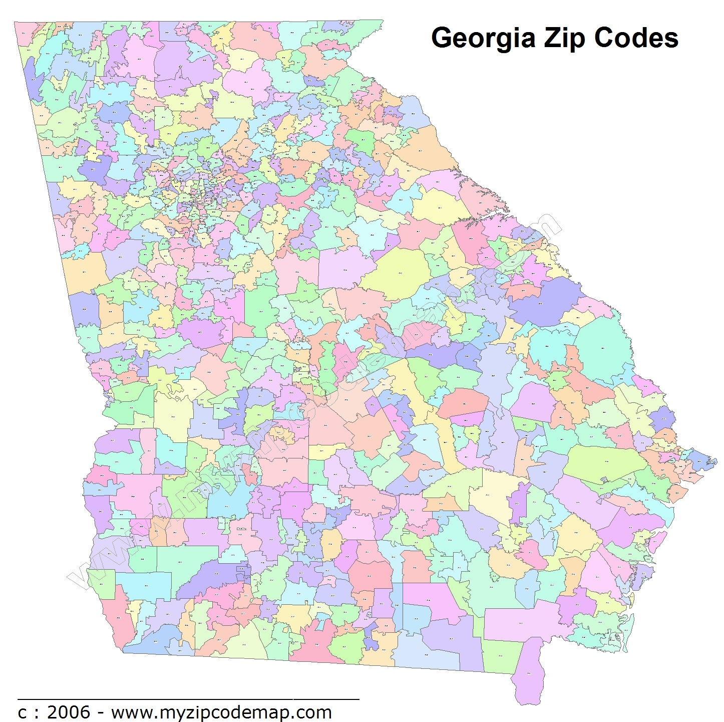 Georgia Zip Code Maps - Free Georgia Zip Code Maps