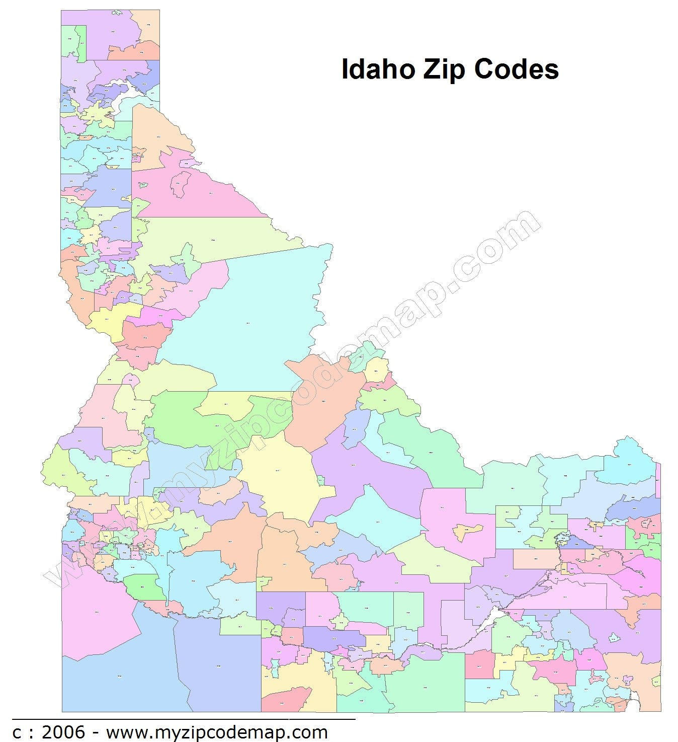 Idaho (ID) Zip Code Map