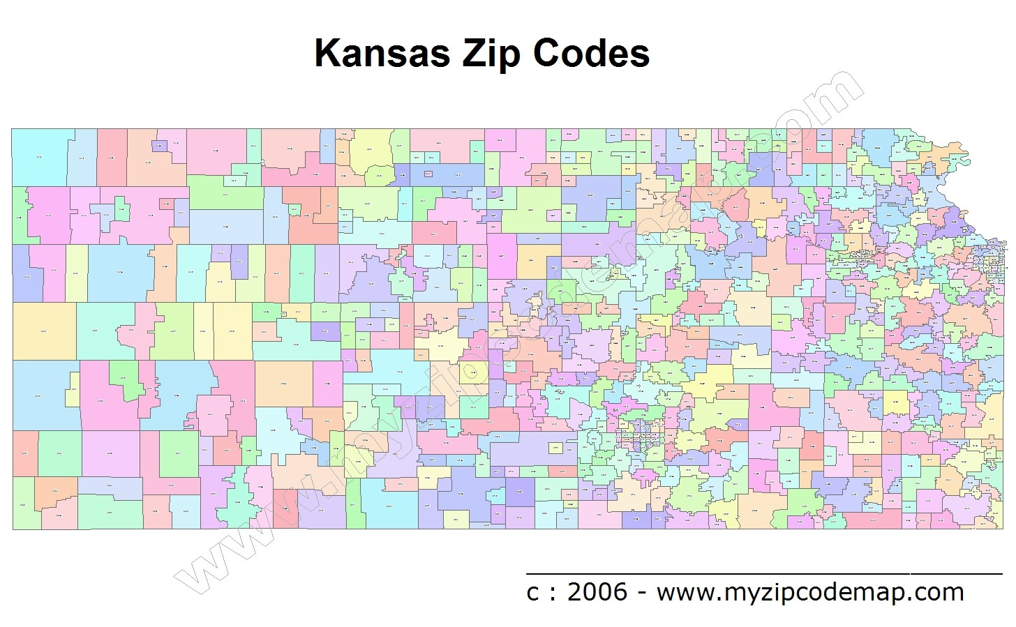 Kansas (KS) Zip Code Map