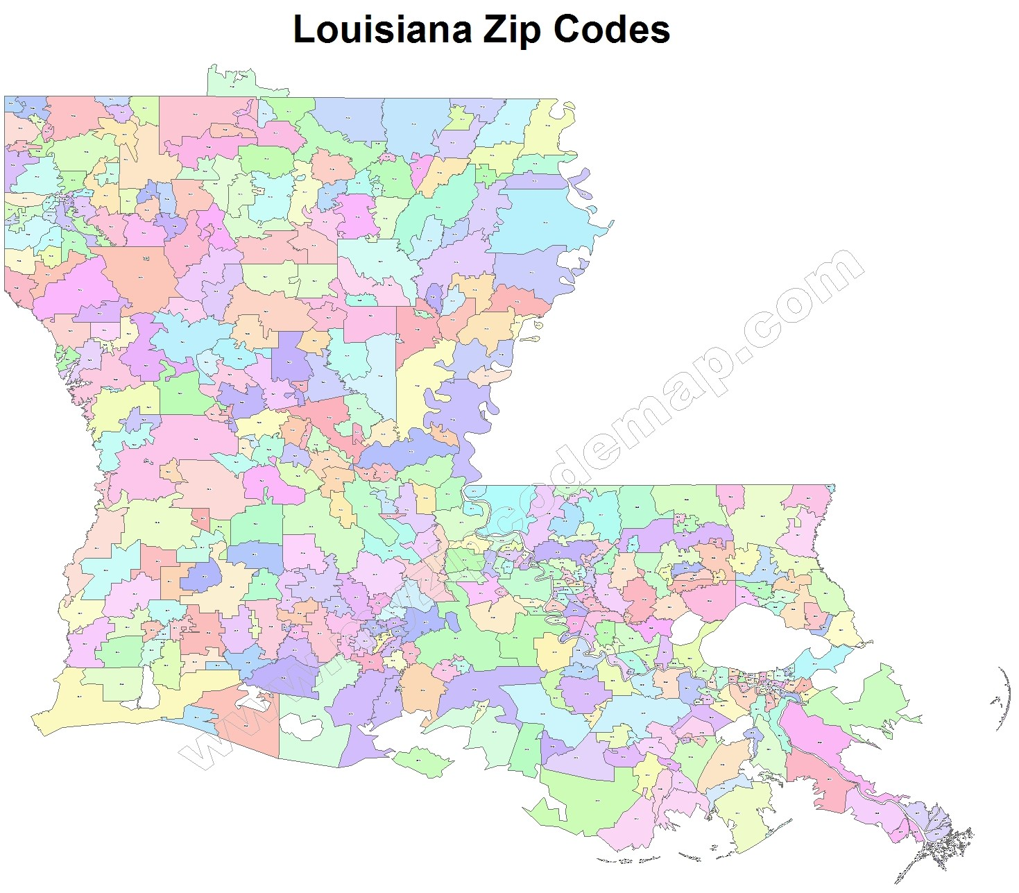 Louisiana Zip Code Maps Free Louisiana Zip Code Maps