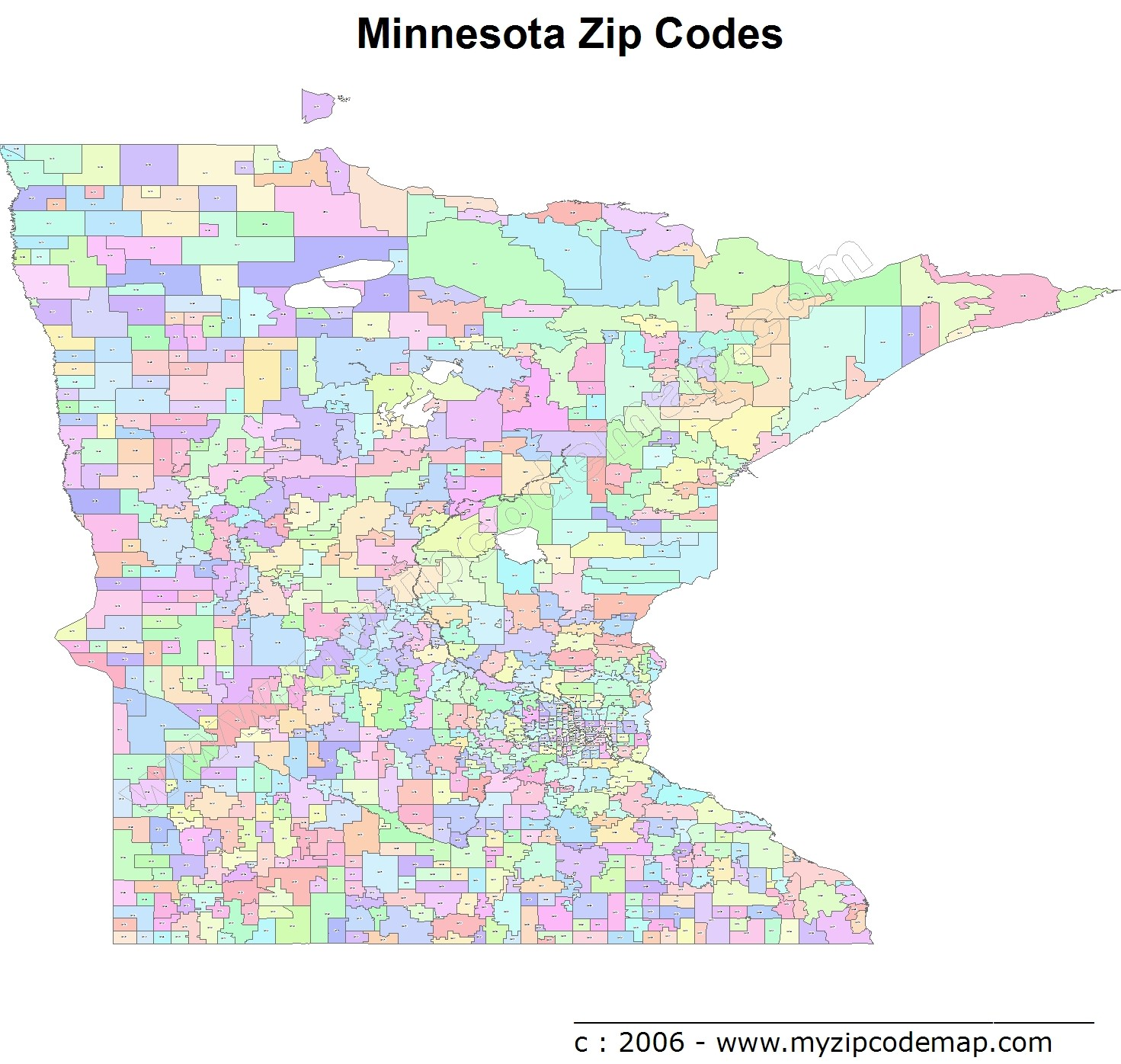 Minnesota (MN) Zip Code Map