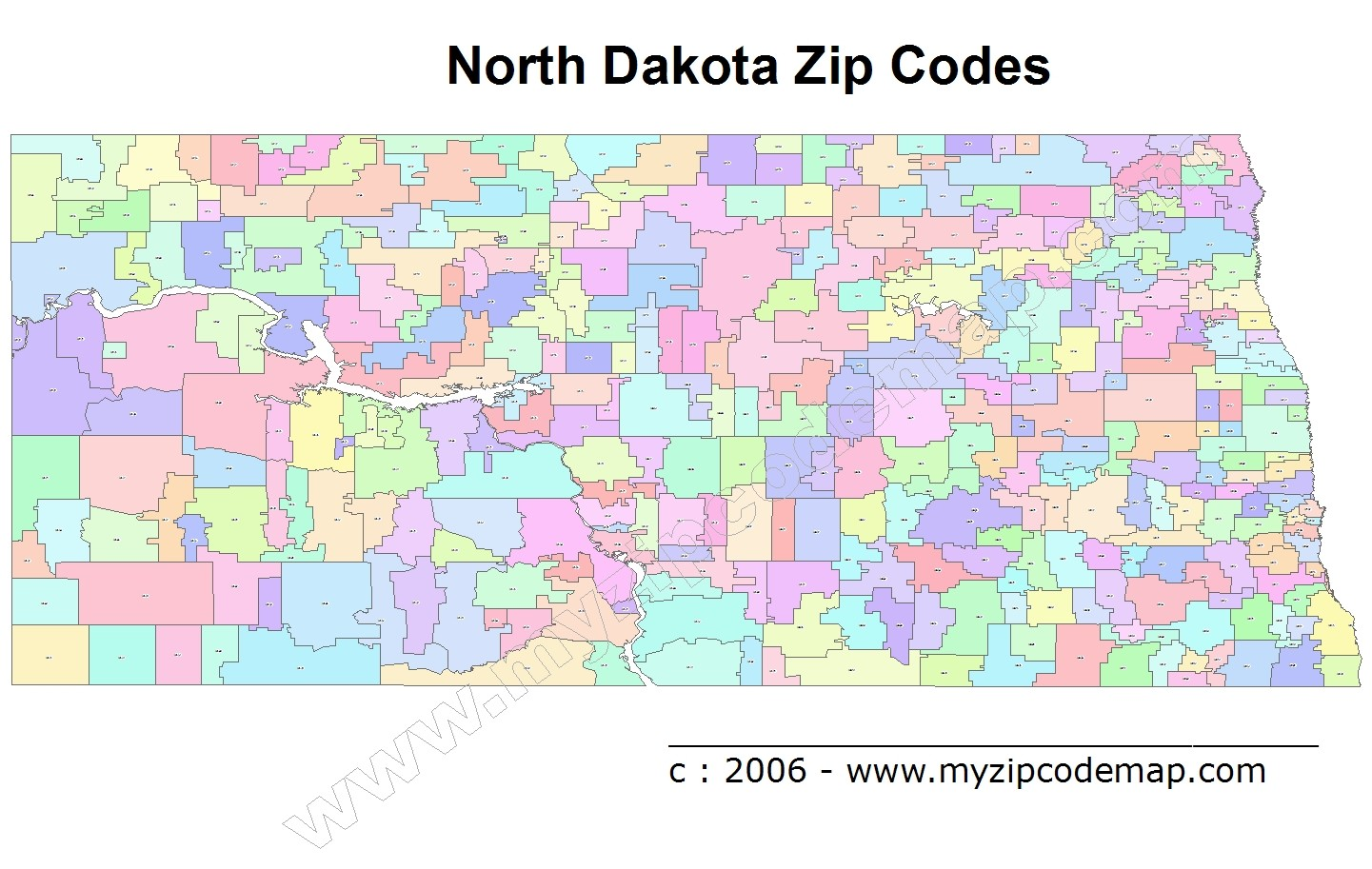 North Dakota Zip Code Maps
