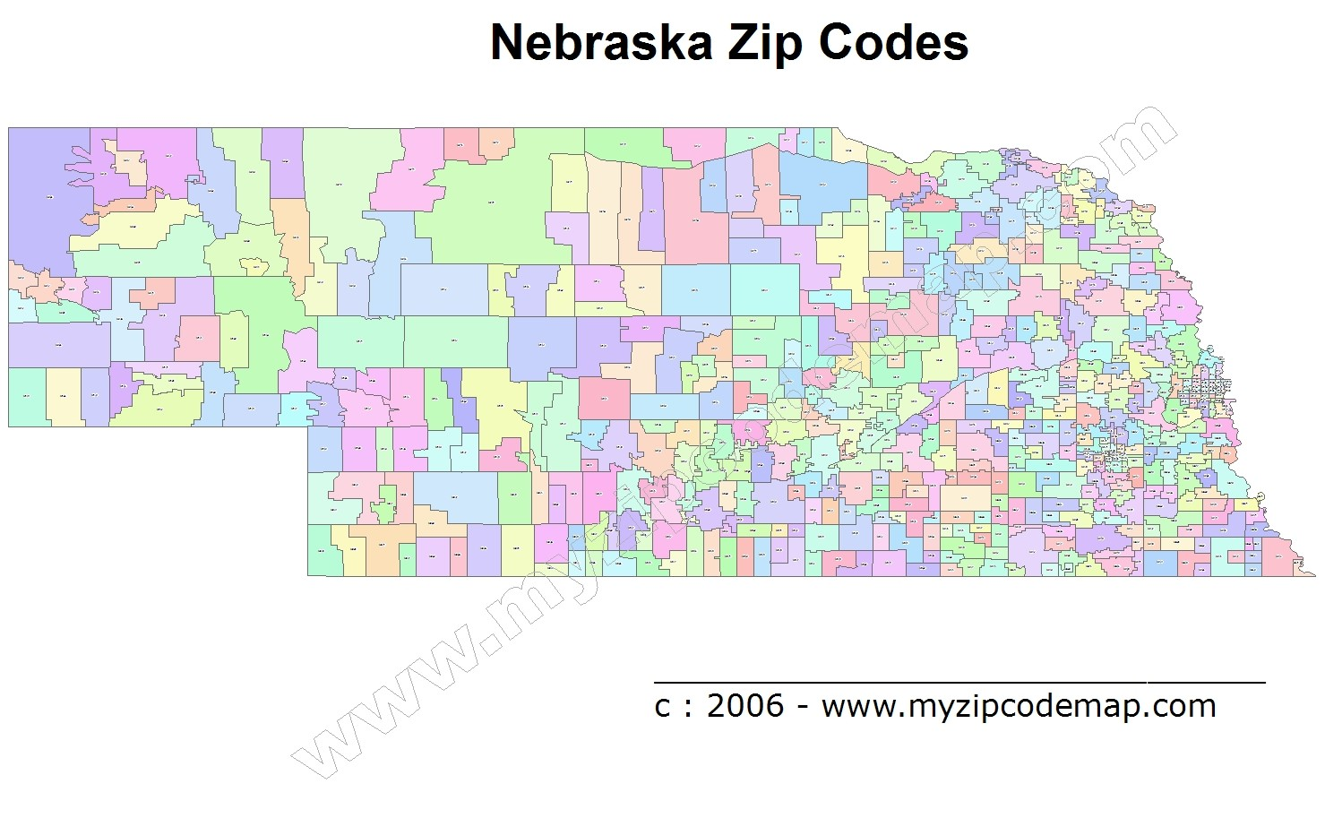 Nebraska (NE) Zip Code Map