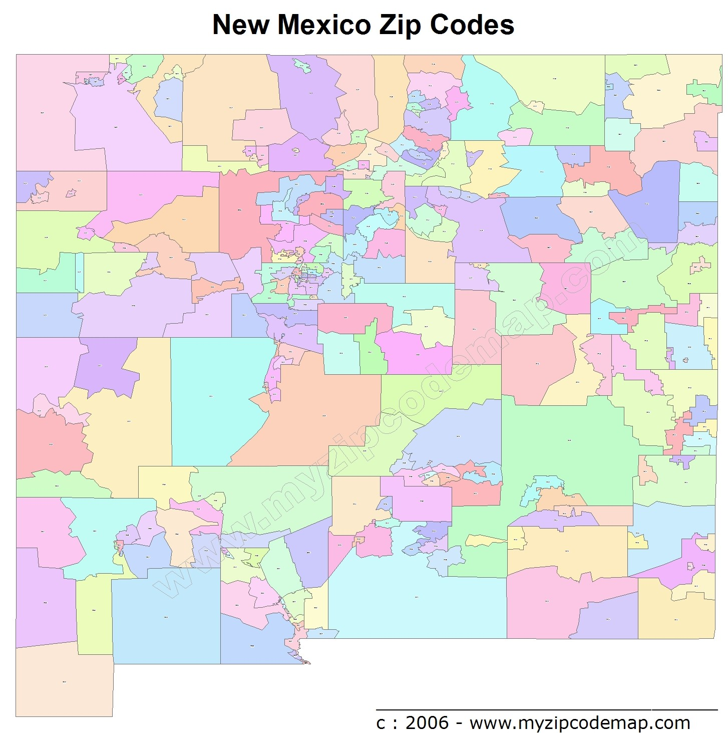 New Mexico (NM) Zip Code Map