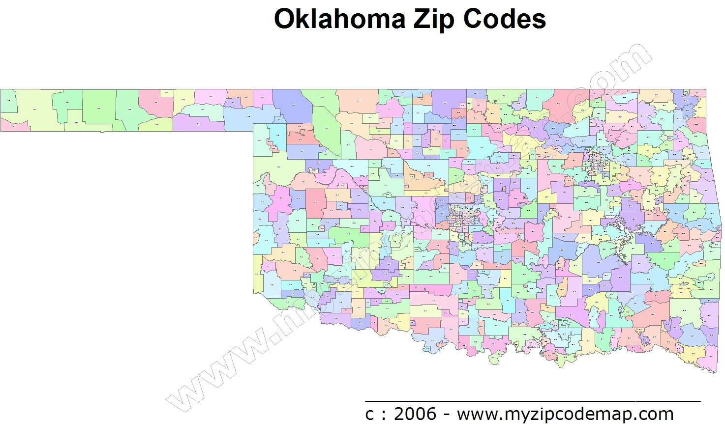 Oklahoma (OK) Zip Code Map